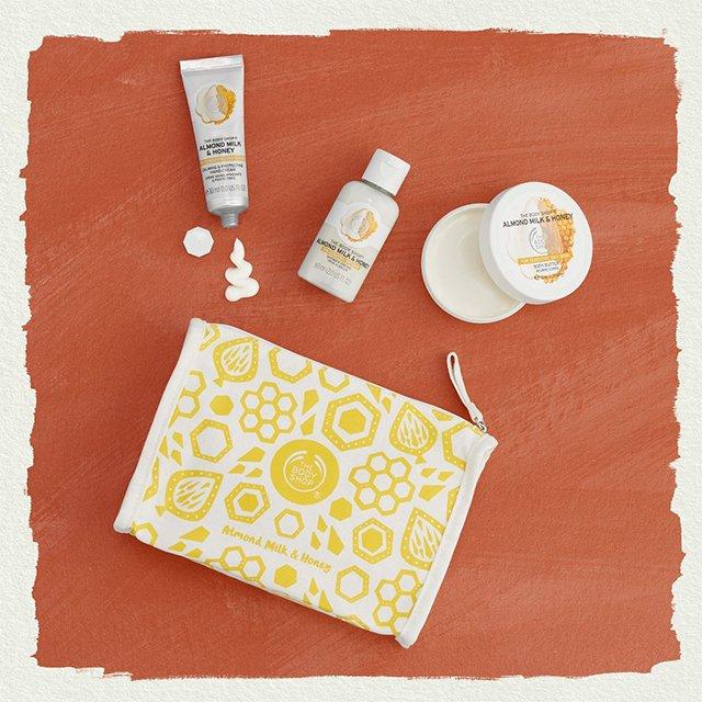 Комплект Бадемово мляко и мед в чантичка XM19