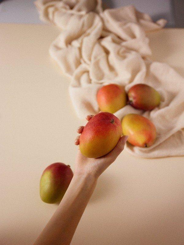 Hand holding a mango